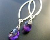 Amethyst Drops - Gemstone and Sterling Silver handmade earrings
