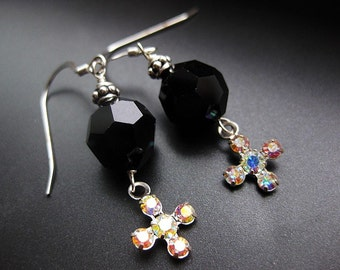 Noelle -  black Swarovski crystals and crosses handmade earrings