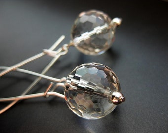 Dazzle - Sterling silver and faceted Quartz handmade earrings