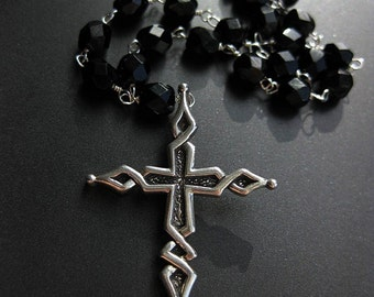 Devotion - sterling cross and czech glass bead chain