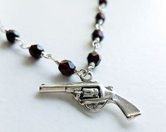 Happiness Is A Warm Gun - sterling silver and red glass bead necklace