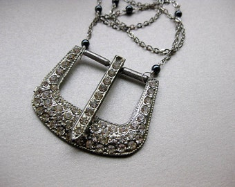 Vintage Rhinestone Buckle Necklace