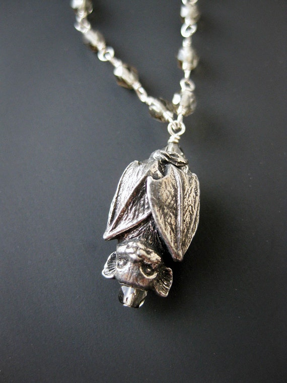 Pewter Bat and Gray Glass Bead necklace