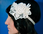 Embroidered Rose Headband