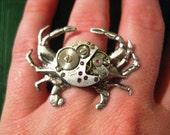 Crab Steampunk Watch Movement Ring       UNISEX