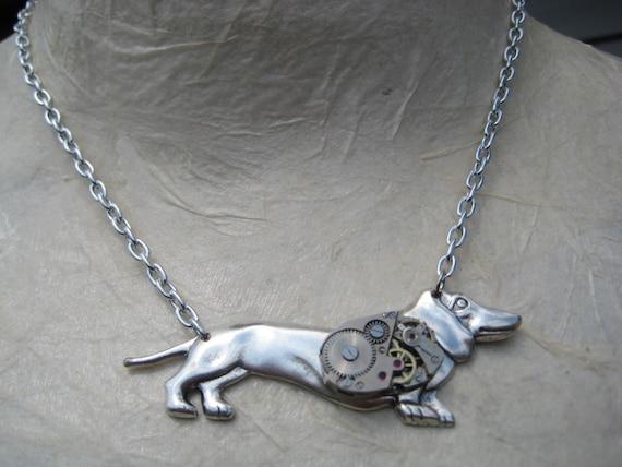 Weiner Dog Steampunk Necklace.