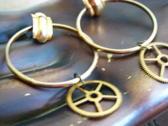 Concentric Gears. Steampunk Boho Diva Earrings.
