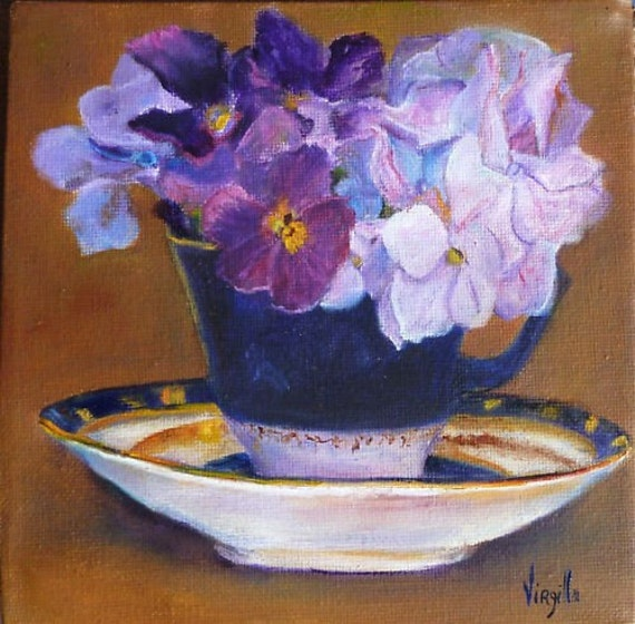 Teacup Paintings - Teacup with Flowers