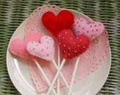 5 Heart Shaped Felt Valentine Lollipops