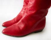 Vintage Red Leather 80's Vintage Boots Sz 6 1/2