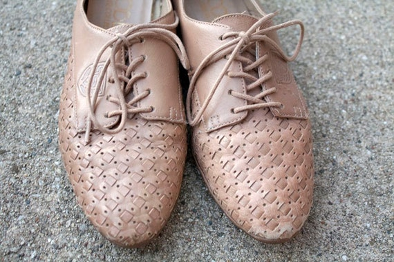 Vintage Woven Leather Flats Sz 6 1/2