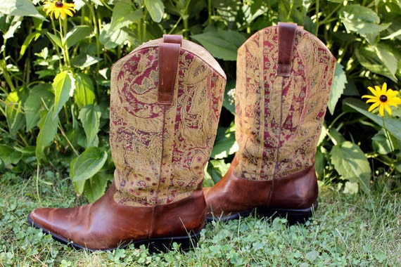 Tapestry Leather Boots Sz 9 - Vintage Bohemian Cowgirl