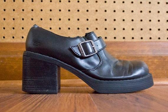 Black Skechers Chunk Heel Grunge Revival Boots Size 8.5