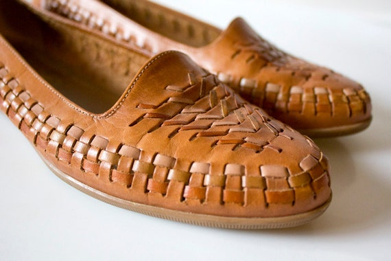 Tan Vintage Woven Leather Flats Size 7.5