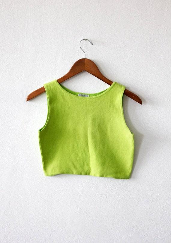 CIAO SUMMER SALE 80's Vintage Neon Green Crop Top Size Medium