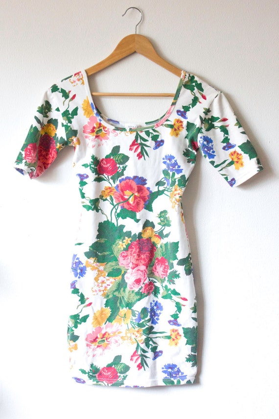 80's White Vintage Floral Bodycon Dress Size Small