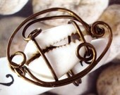 Wire Wrapped  Ring Cowrie Shell  in Copper Wire