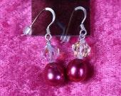 Earrings Pearls and Swarovski Fuchsia Sweetness