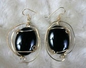 Wire Wrapped Dangle Earrings Black Onyx Black Sass  Cabs  SS