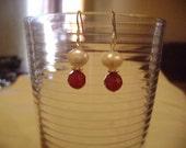 White Pearl Earrings Faceted Red Carnelian Earrings