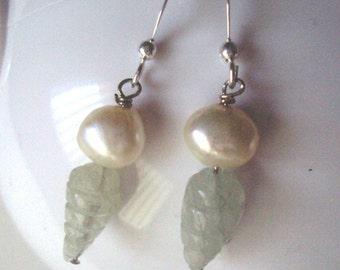 Aquamarine Earrings Beehive and Pearls Earrings March Birthstone