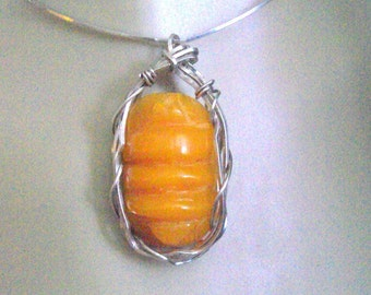 Wire Wrap Amber in SS Pendant