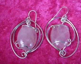Wire Wrapped Rose Quartz Earrings in SS
