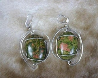 Sweet Charlet Earrings- Pink and Green Unakite