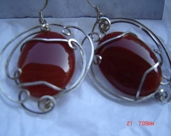Wire Wrap Earrings Large Carnelian Cab in SS