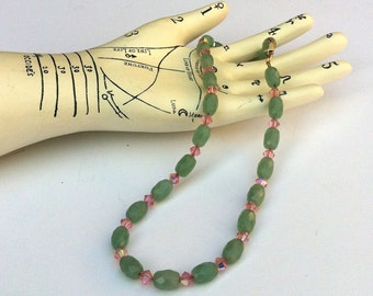 Necklace Green Aventurine Faceted Barrels with Pink Swarovski Crystals