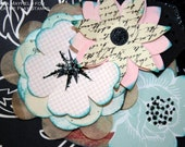 Large Card Hand Stamped Accordion Friendship Card Glittered Flowers Aqua Black Lace
