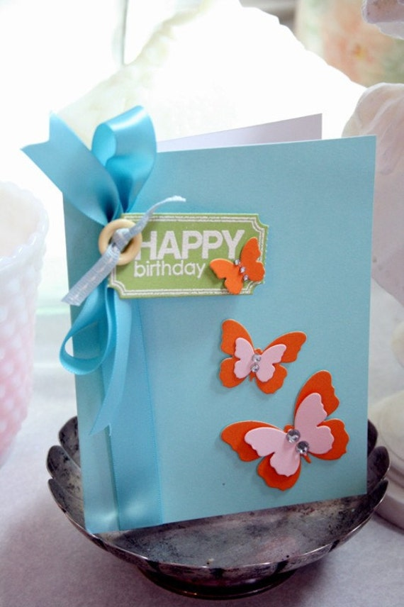 Happy Birthday Card Hand Stamped