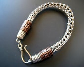 Viking knit leather Hancrafted Personalized  Wire Bracelet For Him or Her under 40 usd