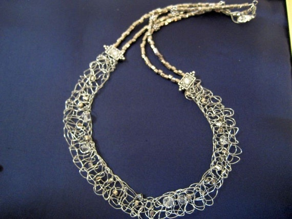 Knitting Patterns For Premature Baby Clothes : Wire knitted necklace in silver and crystals The Galaxy