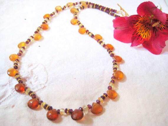 Hessonite Garnet  Necklace in gold filled