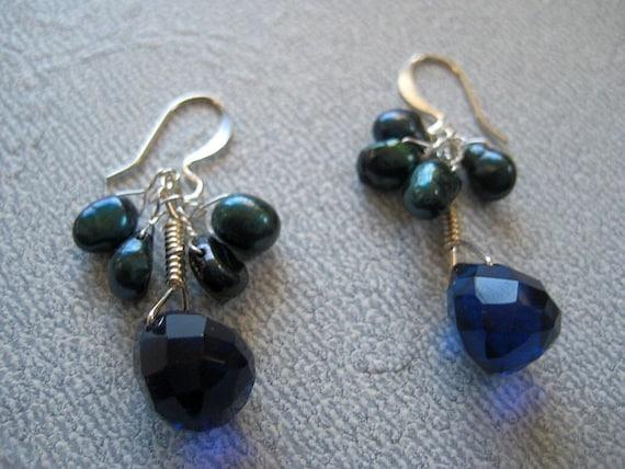 Tear drop earrings in blue quartz gemstone and pearl in wire wrapped silver