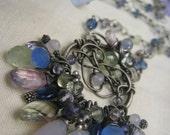 SALE - Wire wrapped sterling silver, chalcedony, prehnite, amethyst, iolite, kyanite gemstone cluster necklace - HYDRANGEA