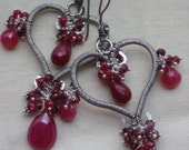 SALE - Sterling silver wire wrapped red ruby and garnet gemstone cluster heart chandelier earrings - SWEET WILLIAM