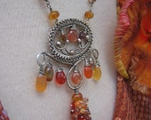 SALE - Wire wrapped sterling silver, orange sapphire, fire opal, andalusite, sunstone gemstone cluster necklace - HIBISCUS