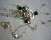 SALE - Sapphire, champagne citrine, green garnet, keshi pearl and sterling silver gemstone necklace - The Monsoon Fleur