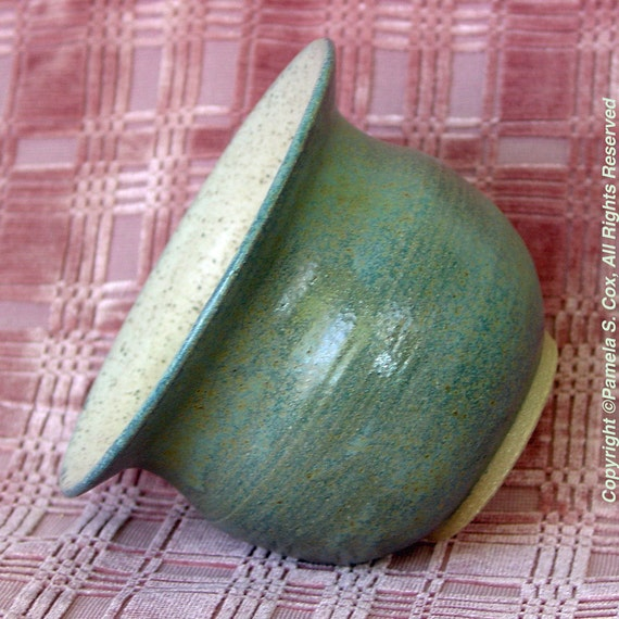 Stoneware Pottery Vase Vessel in Matt Green Moss and Spice