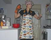 Dinosaurs Roam Your Kitchen-- Dinosaurs and Dinosaur Skeletons Full Apron