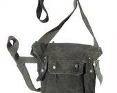 Vintage military canvas and leather crossbody bag case with strap