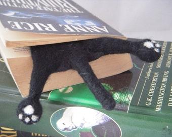 1/2 SPLAT - back black kitty bookmark - Cat lovers gift