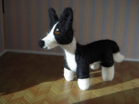 Custom Border collie dog - needle felted origonal puppy soft sculpture. - small size