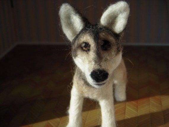 Custom - Wolf - needle felted origonal art - plushie soft sculpture