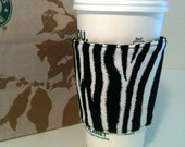 Black and White Zebra Print Coffee Cozy