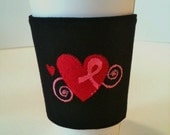 Breast Cancer Embroidered Travel Coffee Cozy