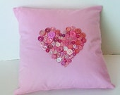 OOAK Pink Heart Buttons Throw Pillow