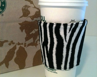 Black and White Zebra Print Coffee Cozy Buttons Eco Frendly Insulated Washable Gift for Her Teen Tween Jungle Sale